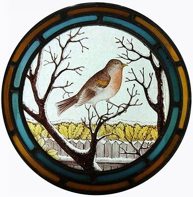 Stunning Victorian Painted Bird - A Winters Day - Antique Stained Glass Roundel