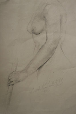 1952 Pencil Sketch Drawing on Paper Nude by Muriel Constance Smith (1902-1990)