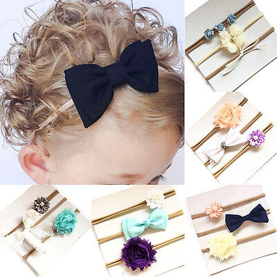 3PCS Kids Baby Girl Toddler Lace Flower Hair Band Headwear Headband