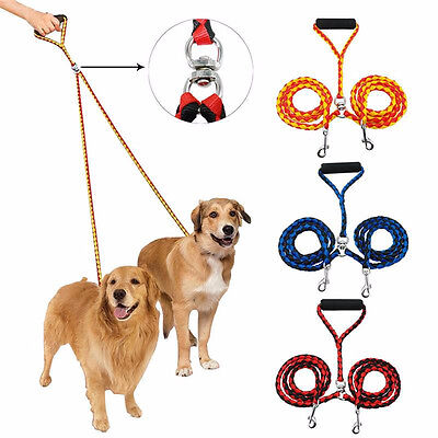 2 Way No Tangle Coupler Multiple Duplex Double Dog Pet Walking Lead Nylon Leash