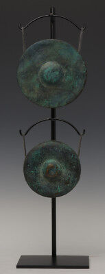 18th Century, A Set of Antique Khmer Bronze Gongs with Stand