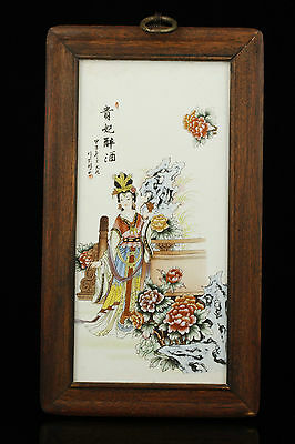 Old Handwork Painting Lady Yang Porcelain Plate Paintings Antique Decorative