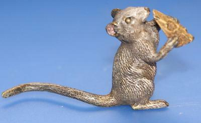 Vintage Austrian Bronze Cold Painted Mouse with Cheese  Figure