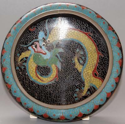Antique Chinese Oriental Cloisonne Bowl Decorated With A Dragon