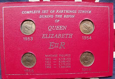 1953 to 1956 complete Elizabeth II farthing set includes the rare key Date 1956