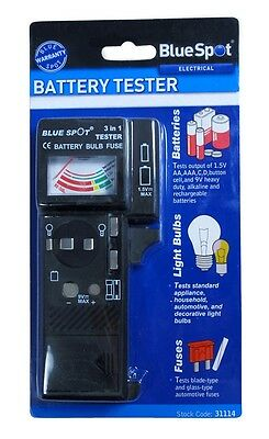 Battery, Bulb and Fuse Tester 3 in 1 Suitable House and Car