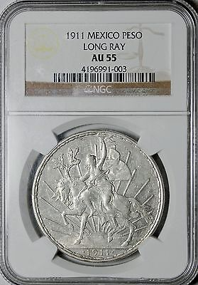 1911 Mexico Silver Peso Long Ray NGC About Uncirculated AU55