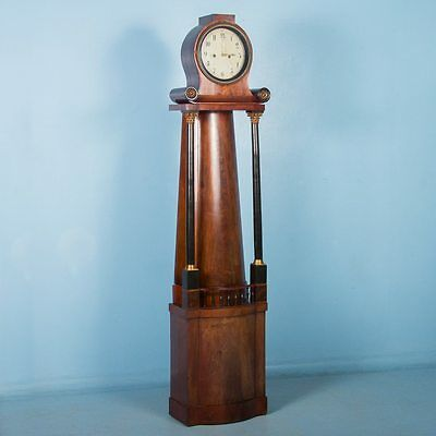 19th Century Antique German Biedermeier Grandfather Clock in Flame Mahogany
