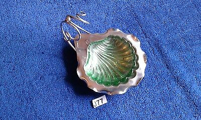 Victorian Scallop Shell Dish With Original Glass Insert By Deykin & Sons (J77)