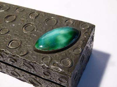Antique Pewter & Ruskin Pottery Cabochon Trinket Jewellery Arts & Crafts BOX