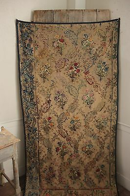 Antique Curtain  French embroidered / printed hanging tapestry style floral