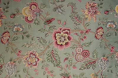 Antique French fabric vintage material GORGEOUS Indienne design celadon green