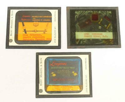 3 x Vintage Longines Movie Theatre Advertising Magic Glass Slides, Original Box