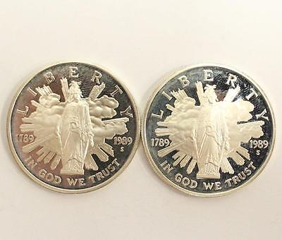 2x 1989-S US Congress Bicentennial Silver Dollars 2-coins PROOF w/fingerprints