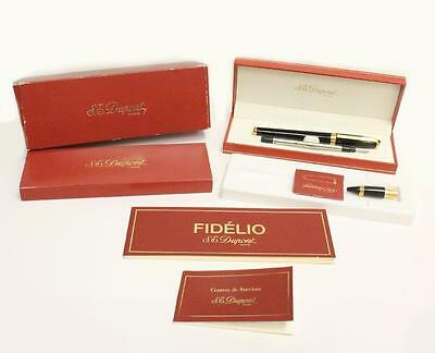 ST Dupont Fidelio Black Fountain Rollerball Convertible Pen Box papers Authentic