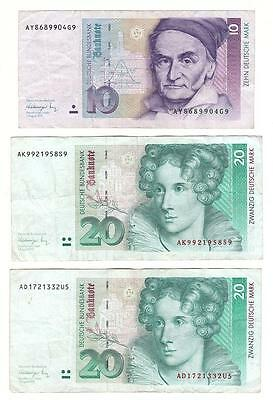 Germany 10 Marks plus 2 x 20 Mark banknotes 1991 all 3 notes F-VF condition