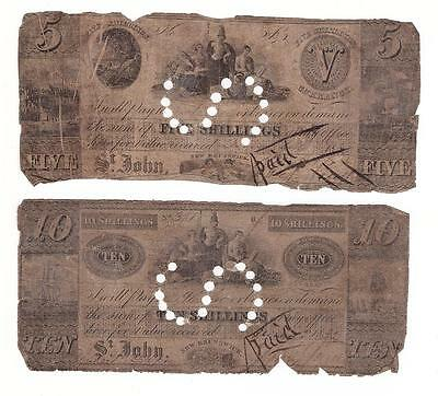C: 1838 St Johns New Brunswick 5 & 10 Shillings banknotes poor condition CXLs