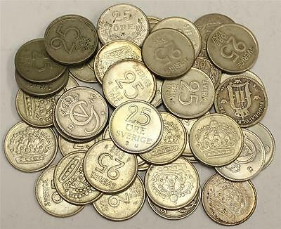1897 to 1973 Sweden 25 Ore 43 coins 25 different dates VG to CH.AU+ see list