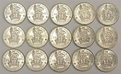 15 x Great Britain 1942 Shillings all almost Uncirculated AU50-AU58+ original