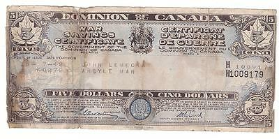 1942 Dominion of Canada $5 War savings Certificate poor condition tears & stains