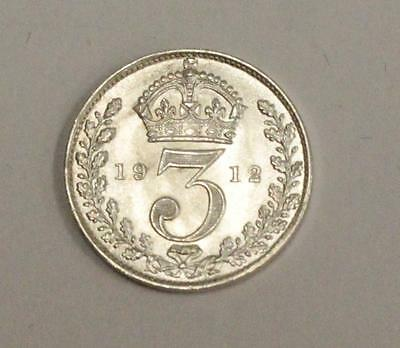 1912 Great Britain 3 Pence Maundy Silver coin Gem Brilliant Uncirculated MS65