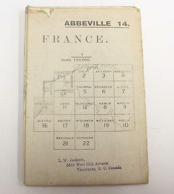 Abbeville France WW1 linen War Office 1915 colour map 33.5 x 25.5 inches
