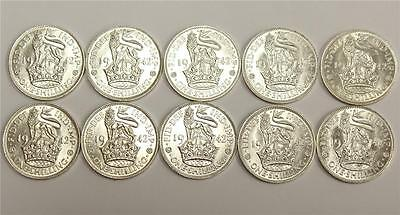 10x Choice Brilliant Uncirculated 1942 Great Britain English Shillings MS63+