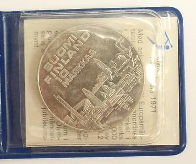 1971 Finland 10 Maarka Coin Champion Athletic Runners UNC MS63+ original package