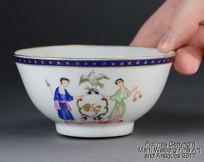 Chinese Export Porcelain Armorial Bowl, New York State Seal, Gilt Accents, 18thC