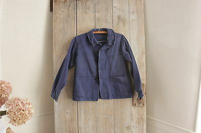 Vintage French blue workwear work clothes chore coat jacket  French old SMALL