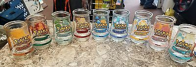 1999 Welch's Pokemon Jelly Jar Complete Set 9 Different Glasses