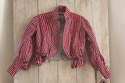 Antique Victorian French bodice shirt woman's striped shirt clothing