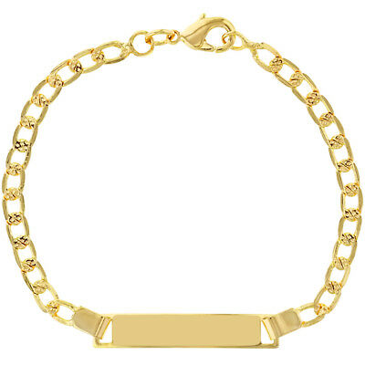 18k Gold Plated Tag ID Bracelet Identification Infant Girl Baby 5""