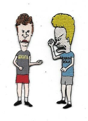 Beavis and Butthead Figures Die-Cut Embroidered Patch Set of Two, NEW UNUSED