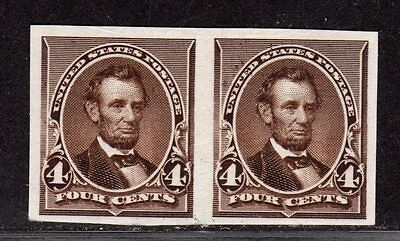 $US Sc#222P3 M/XF, Plate Proof on India paper, pair Cv. $70