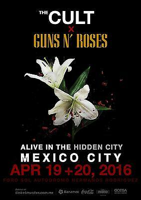 "Cult / Guns N' Roses ""alive In The Hidden City"" 2016 Mexico Concert Tour Poster"