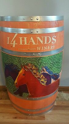 (L@@k) 14 Hands Wine Giant Wooden Barrel With Horses Winery Bar Pub Rare New