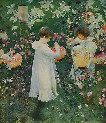 Antique Old SARGENT Art Print c19th Victorian Sisters CARNATION LILY LILY ROSE