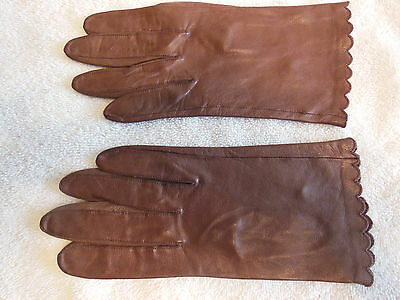 Women's Driving Gloves-Miss Aris-Size 7-Brown-Leather-Wrist-PreOwned