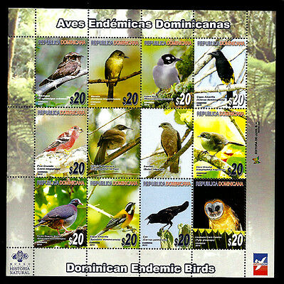DOMINICAN REPUBLIC - BIRDS - 12 stamps on Sheet