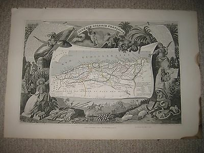 Superb Antique 1854 French Algeria Africa Levasseur Masterpiece Map Art Vignette