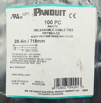 100 PC Bag Reuseable Panduit Pan Ty 28.4 in 718mm Nylon Cable Zip Ties PRT8EH-C0
