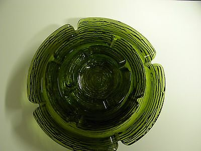 Vintage Set Of Three Mid Century Stackable Green Glass Ashtrays