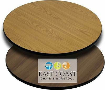 """CLOSEOUT: New 24"""" Round Commercial Reversible Cafe Table Top (Oak/Walnut)"""