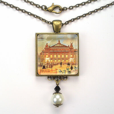 "Paris France French Opera ""vintage Charm"" Bronze Or Silver  Pendant Necklace"