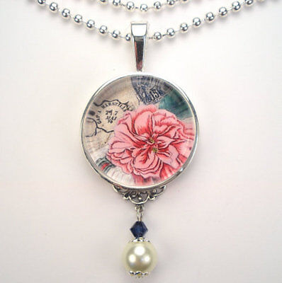 """French Rose Floral """"vintage Charm"""" Handmade Silver Or Bronze Pendant Necklace"""