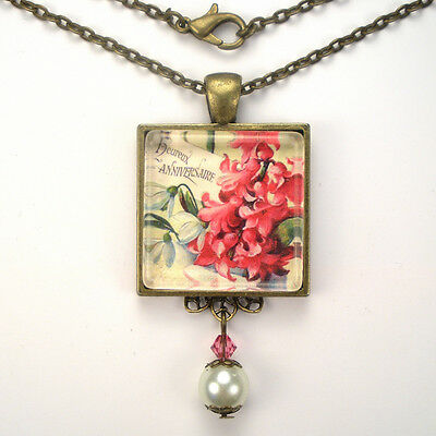 Happy Anniversary French Hyacinth Vintage Charm Bronze Silver Pendant Necklace