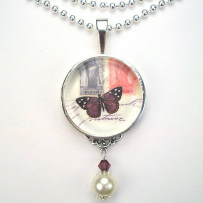 """Purple French Butterfly """"vintage Charm"""" Silver Or Bronze Art Pendant Necklace"""