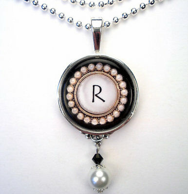 Initial Letter R Monogram Vintage Charm Silver Or Bronze Pearl Pendant Necklace