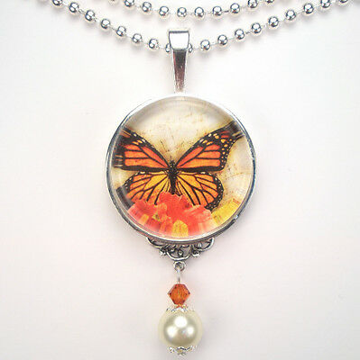 5 Or 10PCs Monarch Butterfly 23mm Silver Plated Resin Pendant Charms C3987-2